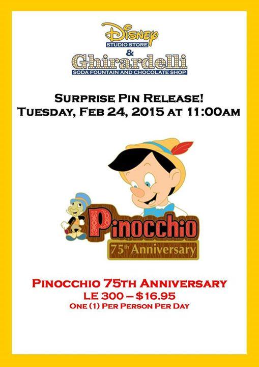 Pinocchio Surprise Pin Release At The Disney Studio Store