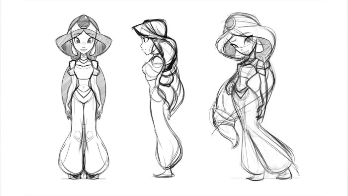 Early concept drawings of Jasmine.