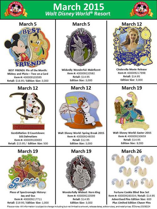 March's Pin Releases For Walt Disney World & Disneyland