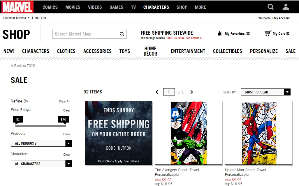 """Marvel Shop """"Ultron"""" Weekend: Free Shipping & Sale"""
