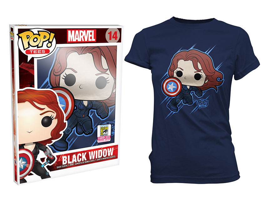 Details On Black Widow Pop Vinyl T-Shirt Coming To SDCC