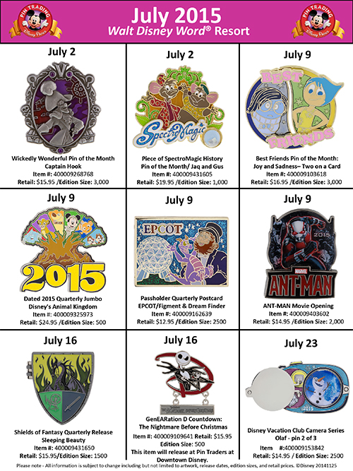 Details On July's Walt Disney World Pins