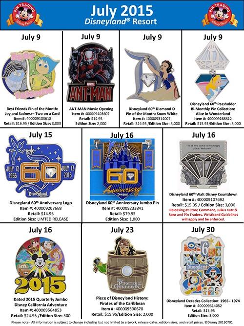Details On July's Disneyland Pins