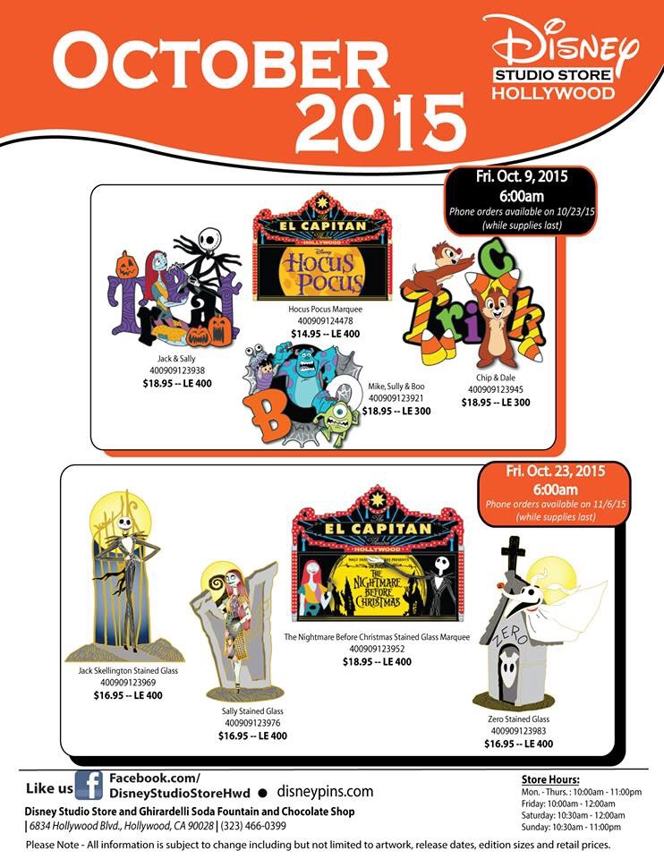 Details on October's Disney Studio Store Pins