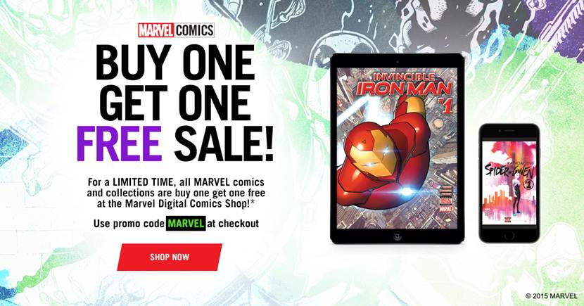 MARVEL COMICS' BUY ONE GET ONE FREE SALE STARTS TODAY!