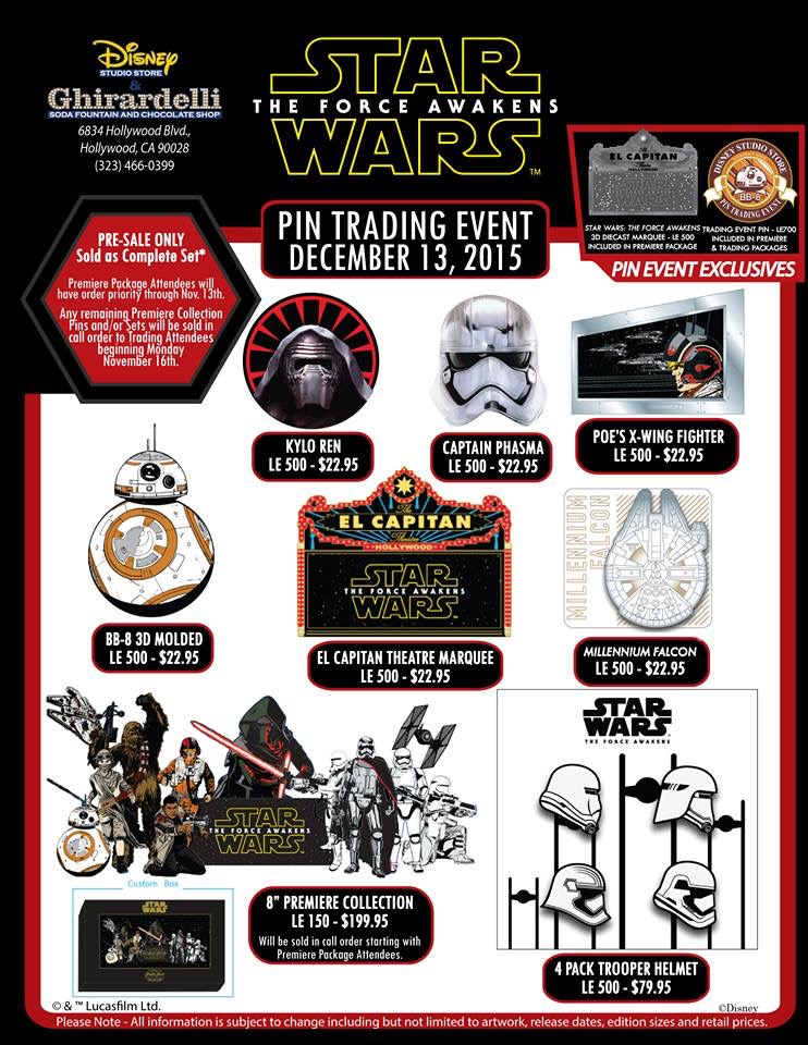 Details On A Star Wars: The Force Awakens Pin Trading Event