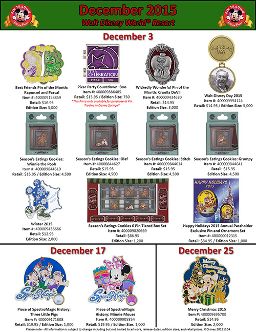 Details On Walt Disney World's December Pins