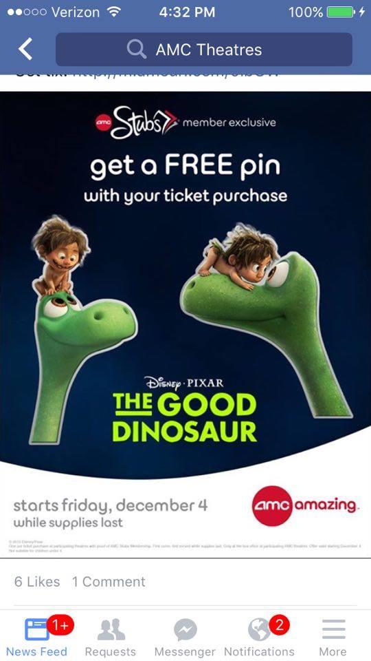 AMC Theater Stubs Exclusive DIsney Pixar Good Dinosaur movie Pin Spot New