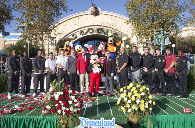 Mickey Mouse Greets Coaches and Players Preparing for the Jan. 1 Rose Bowl Disneyland Resort Diamond Celebration Will Come to Life in Rose Parade
