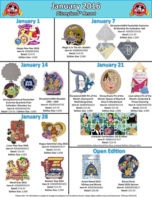 Details On Disneyland's January Pin Releases