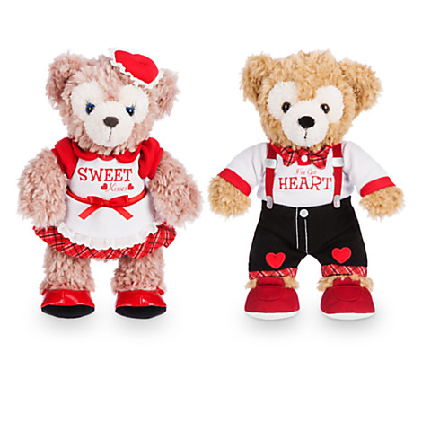 heres a pretty pair of duffy and shelliemay the disney bears plush both all dressed up for a bear y special date in their valentines day best
