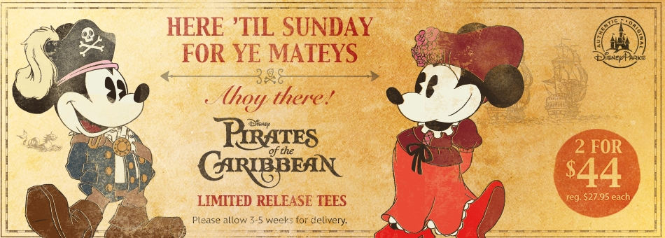 New Pirates of the Caribbean Limited Release Tees Online at The Disney Store!!!