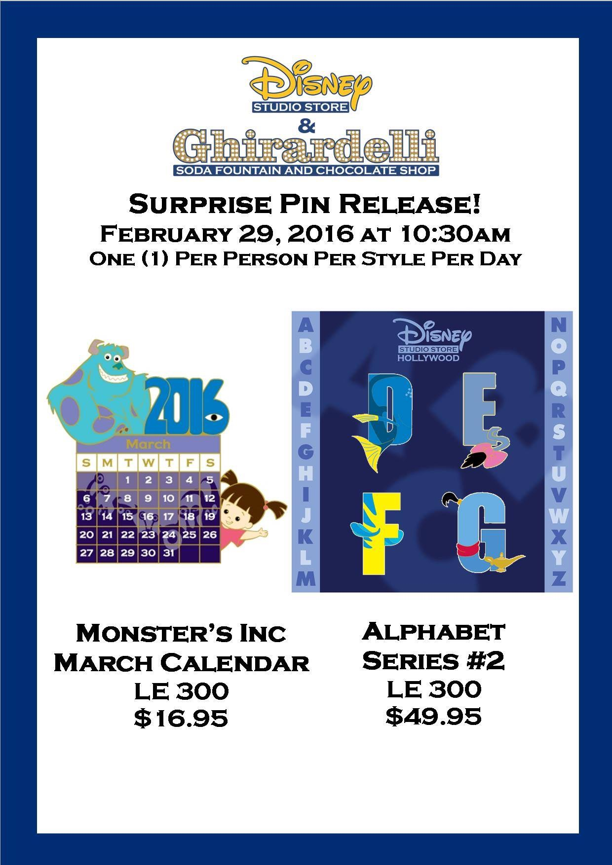 Two Surprise Pins Released At The Disney Studio Store