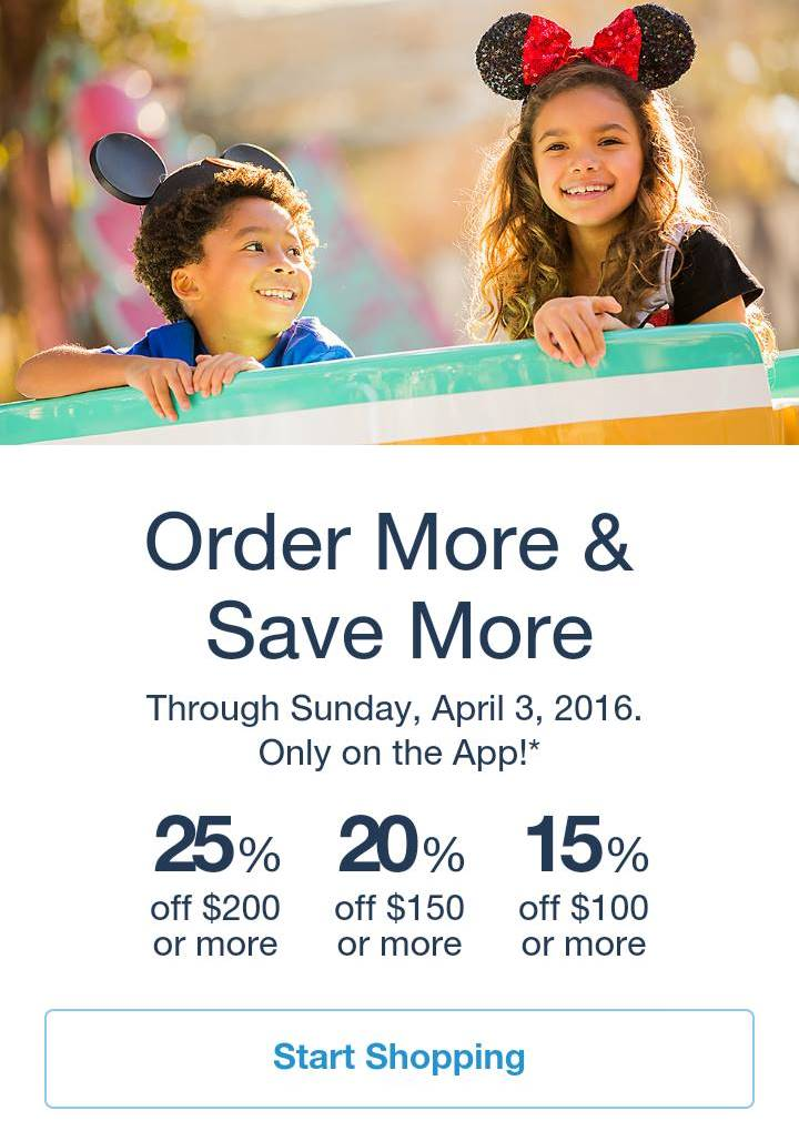 New Tiered Discount on the Shop Disney Parks App!!!