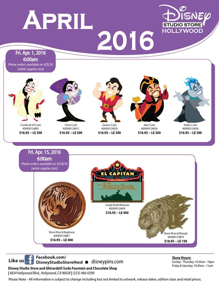 April S Pin Releases At The Disney Studio Store