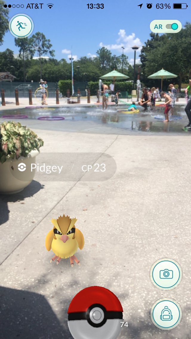 Catching Pidgey at Disney Springs PC: AwesomestBen Twitter