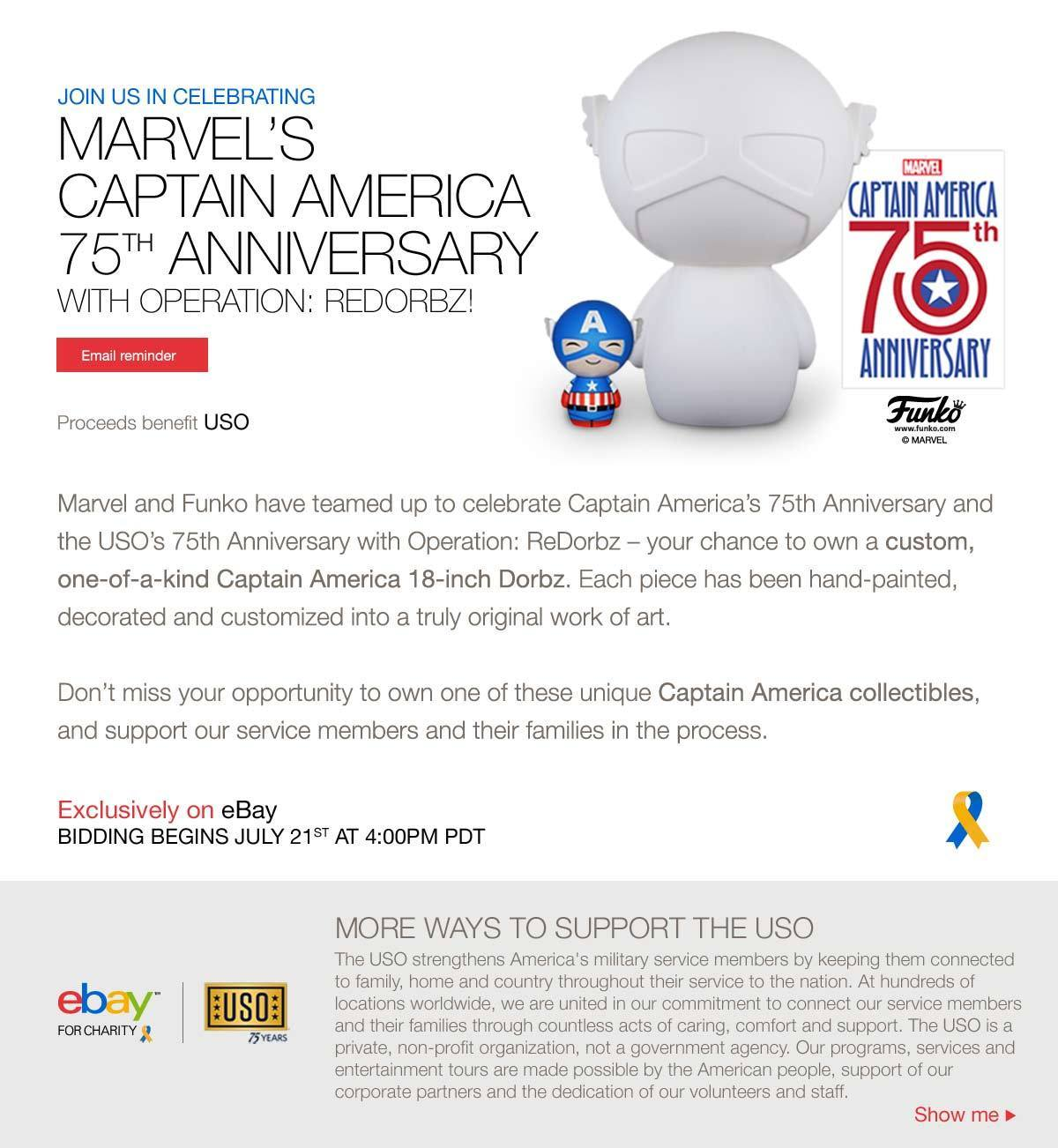 Funko, Marvel and the USO to Celebrate Captain America's 75th Anniversary with Operation: ReDorbz!