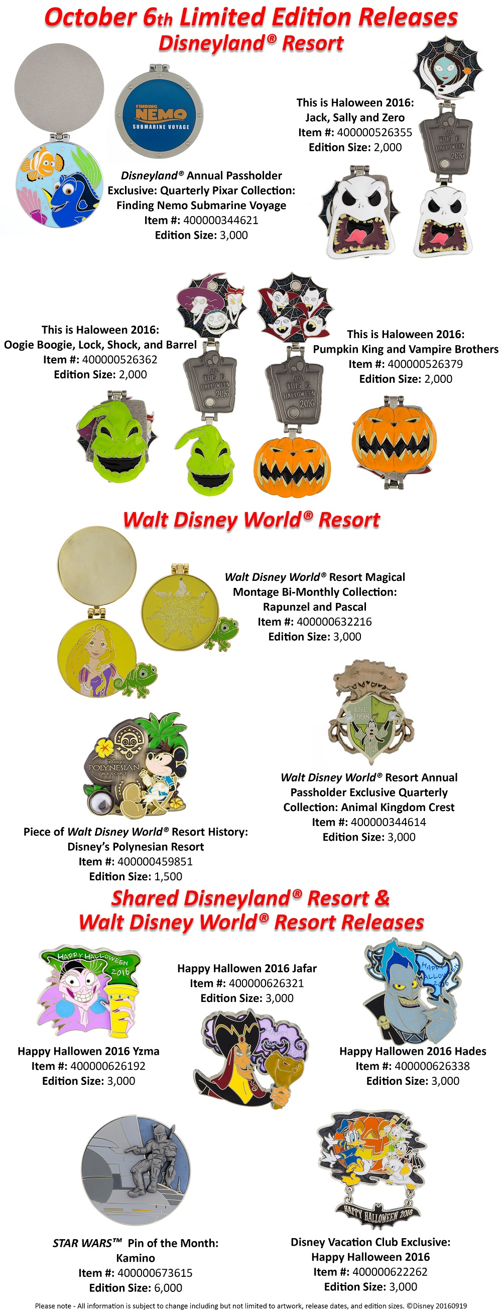 Pin Releases For October 6th Revealed