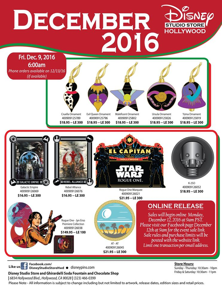 December Pins Announced For The Disney Studio Store Hollywood