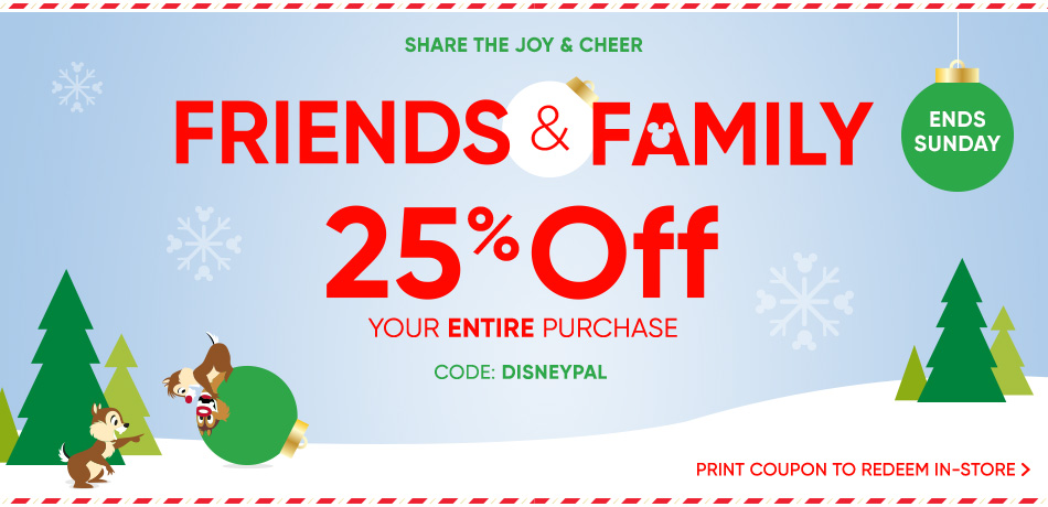 Disney Store Launch Friends & Family 25% Off Promotion