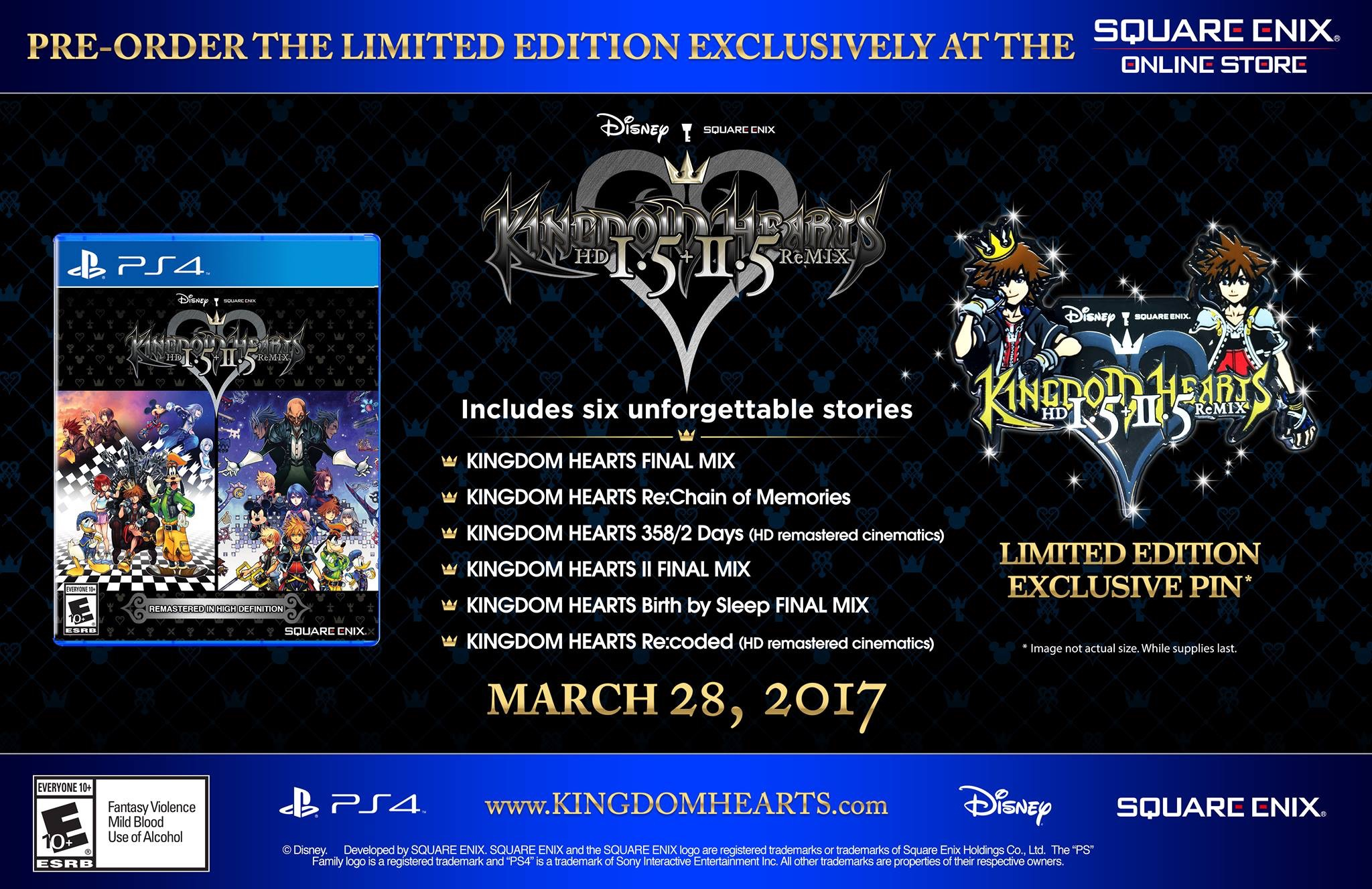 Kingdom Hearts 1.5 & 2.5 Pin Pre-Order Bonus Announced