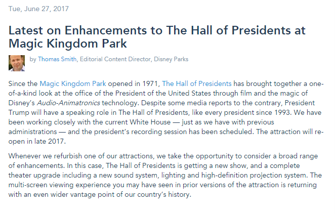 Disney Parks Set Record Straight About Hall of Presidents Attraction