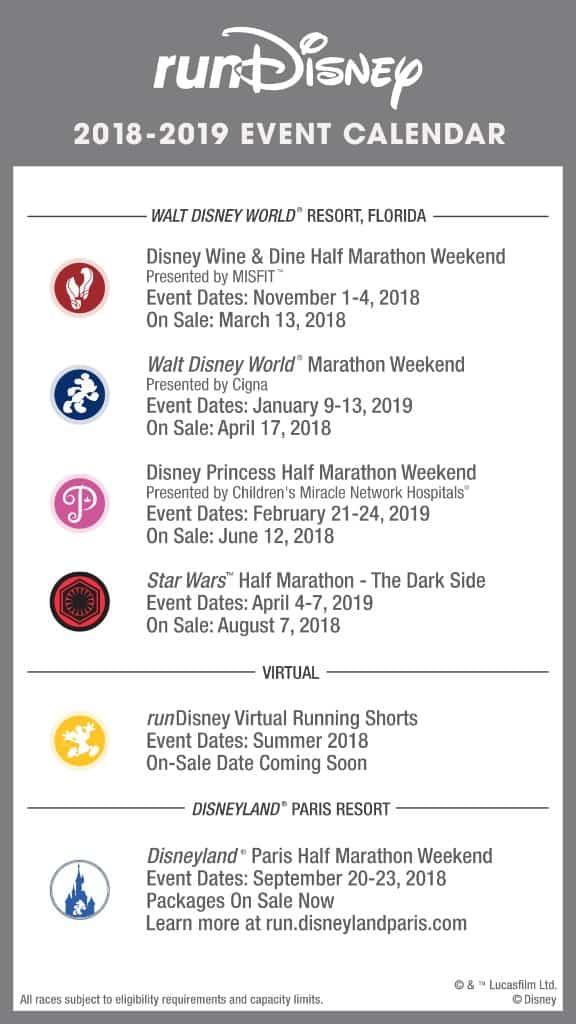 rundisney 2018 2019 event calendar released