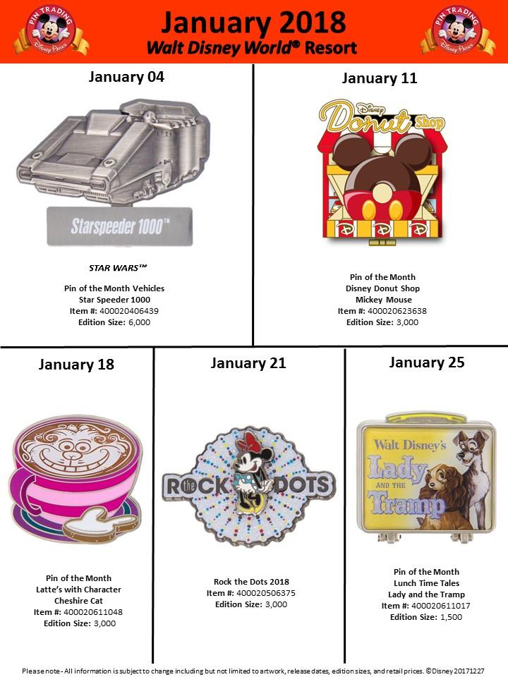 Disneyland Amp Walt Disney World January Pins Announced