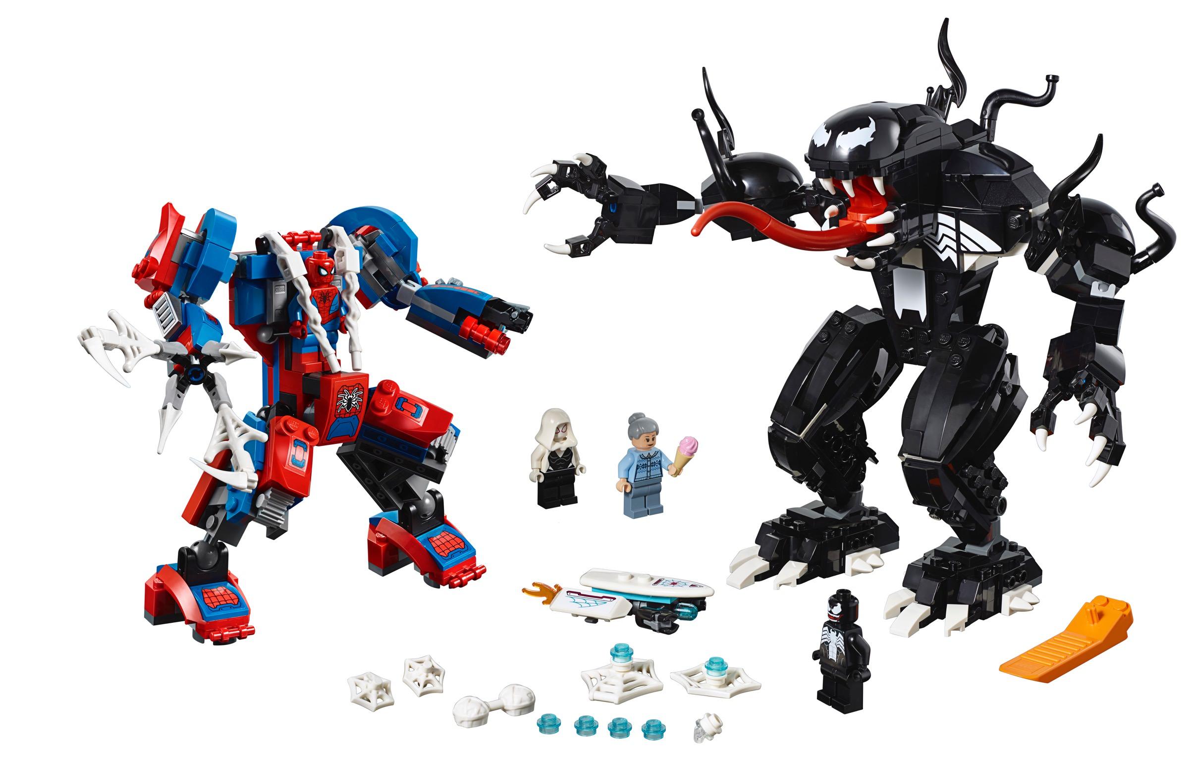 lego marvel super heroes spiderman mech vs venom mech
